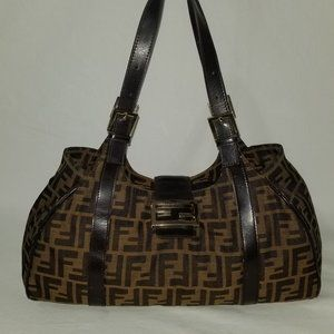 FENDI Zucca Brown Canvas & Leather Shouder Bag